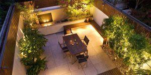 courtyard garden outdoor lighting